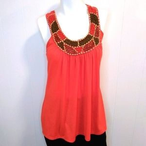 Body Central Coral Beaded Tank Top. Small